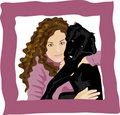 Curly girl loves her puppy dog Royalty Free Stock Photo