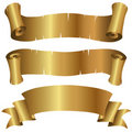 Curly Golden Banners Set Stock Photo