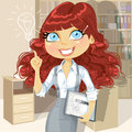 Curly hair girl with tablet inspiration idea in of brown electronic office Stock Photo