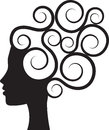 Curly hair silhouette of womans profile with Royalty Free Stock Photo