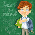 Curly haired boy with books at the blackboard back to school Royalty Free Stock Images