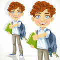 Curly haired boy with books and school backpack cute Royalty Free Stock Image