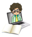 A curly man inside the laptop with an empty paper in front illustration of on white background Royalty Free Stock Photo
