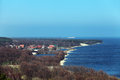 Curonian spit russia the baltic sea a view of the village of morskoe from the sand dunes Royalty Free Stock Image