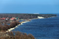 Curonian spit russia the baltic sea a view of the village of morskoe from the sand dunes Stock Photography