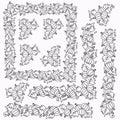 Currant berries decorative doodle elements frames square boreders