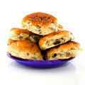 Currant bread rolls on a plate Royalty Free Stock Image