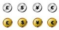 Currency buttons symbols on silver and gold Royalty Free Stock Photo