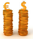 Currency equality - US dollar and Euro Stock Photo