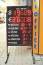 Currency exchange rates board at street a Royalty Free Stock Photography