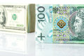 Currency exchange with us dollar and polish zloty Stock Photos