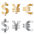 Currency icons collection of silver and gold symbols isolated on white Royalty Free Stock Photography