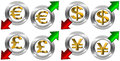 Currency with positive and negative arrow symbols euro pound dollar yen green red arrows Stock Images