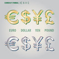 Currency symbol of dollar euro yen and pound vecto set vector Royalty Free Stock Images