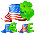 Currency symbols with flags Royalty Free Stock Image