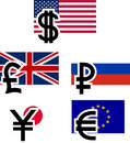Currency symbols and flags vector illustration Stock Photography