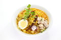 Curried noodle chiang mai noodles soup north thai food Royalty Free Stock Photo