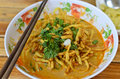 Curried noodles soup chiang mai north thai food Royalty Free Stock Image
