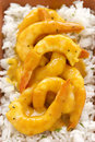Curried shrimps delicious spicy ready to serve Stock Image