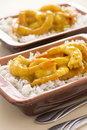 Curried shrimps two servings of delicious spicy ready to serve Royalty Free Stock Image