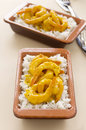 Curried shrimps two servings of delicious spicy ready to serve Royalty Free Stock Images