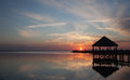 Currituck sound and gazebo at sunset with Stock Photo