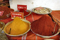 Curry and chilly in a tunisian market Royalty Free Stock Photography