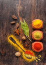 Curry, paprika, anise, nutmeg. Spices Stock Image