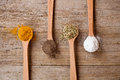 Curry, pepper, oregano and salt Royalty Free Stock Photography