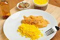 Curry rice with chicken meat on a plate Royalty Free Stock Photography