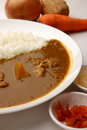 Curry with rice japanese style concept shot of food and beverage Royalty Free Stock Photography