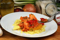 Curry rice with sweet and sour chicken Royalty Free Stock Photography