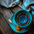 Curry and turkish bowls on wooden table style rustic Royalty Free Stock Images