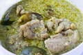 Curry verde con le palle di pesci Immagine Stock