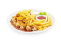 Currywurst french fries white Stock Photo