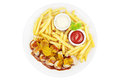 Currywurst meal with french fries isolated on white Royalty Free Stock Photo
