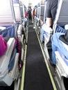Curso dos povos no passageiro jet airliner Imagem de Stock