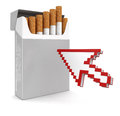 Cursor and cigarette pack clipping path included image with Royalty Free Stock Photo