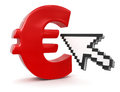 Cursor and euro sign clipping path included image with Royalty Free Stock Photos