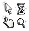 Cursor. Hand, arrow, hourglass, magnifying Royalty Free Stock Photo