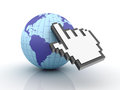 Cursor Hand over the world Stock Image