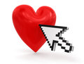 Cursor and heart clipping path included image with Stock Photo