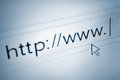 Cursor pointing at http www text in browsing browser address bar, arrow pointer, soft macro web url link page closeup Royalty Free Stock Photo