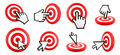 Cursor pointing and target Royalty Free Stock Photo
