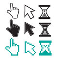 Cursors icons pixel mouse hand arrow hourglass vector illustration Royalty Free Stock Images