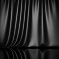 Curtain drapes black silk fabric cloth background Royalty Free Stock Photo