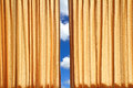 Curtain on edge of a window Royalty Free Stock Photo