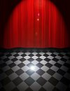 Curtain and floor illustration of wall scene with spot light flare Royalty Free Stock Photo