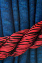 Curtain in red and blue Stock Photo