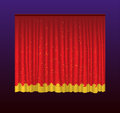 Curtains - realistic vector red drapes illustration Royalty Free Stock Photo